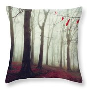 Forest In December Mist Throw Pillow