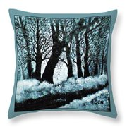 Forest Misty Dawn In Late Fall Throw Pillow