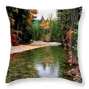 Forest With River Throw Pillow