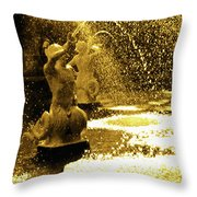 Forsyth Park Tritons In A Cascade Of Gold Throw Pillow