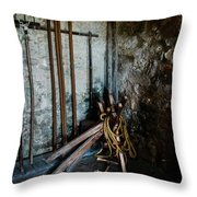Fort Tools Throw Pillow by Judy Hall-Folde