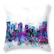 Fort Worth Skyline Color Splatter Throw Pillow