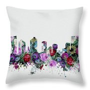 Fort Worth Skyline Floral 2 Throw Pillow