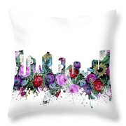 Fort Worth Skyline Floral Throw Pillow