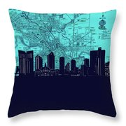 Fort Worth Skyline Map Blue 2 Throw Pillow