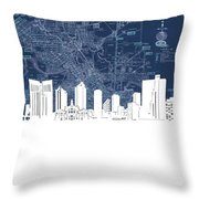 Fort Worth Skyline Map Blue Throw Pillow