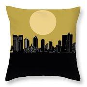 Fort Worth Skyline Minimalism Yellow Throw Pillow
