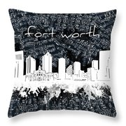 Fort Worth Skyline Music Sheet 2 Throw Pillow