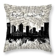 Fort Worth Skyline Music Sheet Throw Pillow