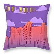 Fort Worth Skyline Panorama Purple Throw Pillow