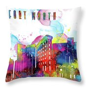 Fort Worth Skyline Panorama Watercolor 2 Throw Pillow