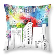 Fort Worth Skyline Panorama Watercolor Throw Pillow