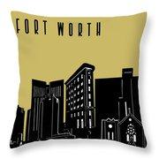 Fort Worth Skyline Panorama Yellow Throw Pillow