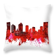 Fort Worth Skyline Red Throw Pillow