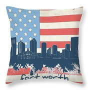 Fort Worth Skyline Usa Flag Throw Pillow