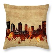 Fort Worth Skyline Vintage Throw Pillow