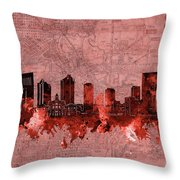Fort Worth Skyline Vintage Red Throw Pillow