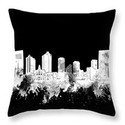 Fort Worth Skyline Watercolor Black And White 2 Throw Pillow