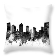 Fort Worth Skyline Watercolor Black And White Throw Pillow