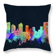 Fort Worth Skyline Watercolor Black Throw Pillow