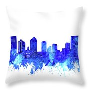 Fort Worth Skyline Watercolor Blue Throw Pillow