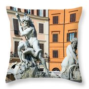 Fountain Of Neptune Throw Pillow