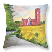Fountains Abbey In Yorkshire Through Japanese Eyes Throw Pillow
