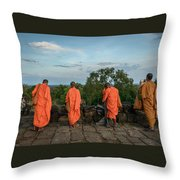 Four Monks And A Phone. Throw Pillow