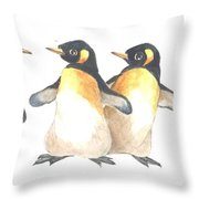 Four Penguins Throw Pillow