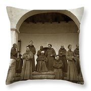 Franciscan Fathers On The Steps Of The Santa Barbara Mission, Ma Throw Pillow by California Views Archives Mr Pat Hathaway Archives