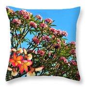 Frangipani Tree Throw Pillow