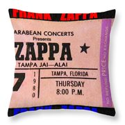 Frank Zappa 1980 Concert Ticket Throw Pillow