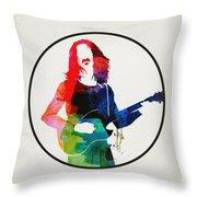 Frank Zappa Watercolor Throw Pillow