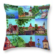 Frankenmuth Downtown Michigan Painting Collage II Throw Pillow