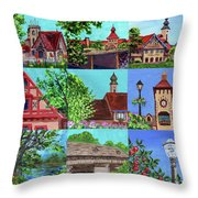 Frankenmuth Downtown Michigan Painting Collage V Throw Pillow