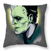 Frankenskull Throw Pillow
