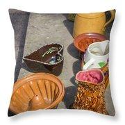 French Flea Market Pottery Throw Pillow