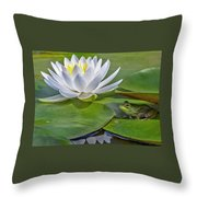 Frog And Lily Throw Pillow