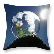 Frog Relaxing In A Bubble Throw Pillow