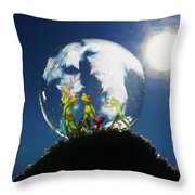 Frogs In A Bubble Throw Pillow