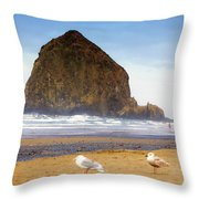 From A Gull's Perspective Haystack Rock Throw Pillow