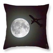 Full Moon And Jet Throw Pillow