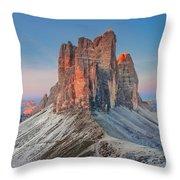 Full Moon Morning On Tre Cime Di Lavaredo Throw Pillow by Dmytro Korol