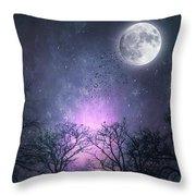 Full Moon Night Magic Throw Pillow