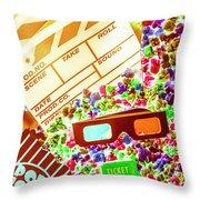 Funky Film Festival Throw Pillow