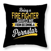 Funny Fire Fighter Gift Cool Design Throw Pillow