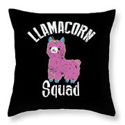 Funny Llamacorn Squad Unicorn Alpaca Lama Throw Pillow