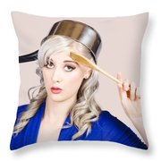 Funny Pin Up Housewife Saluting For Cooking Duties Throw Pillow