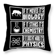 Funny Science Teacher Shirt Physics Chemistry And Biology Meme Throw Pillow