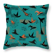 Funny Witch Hats Art Throw Pillow